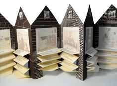 The accordion book originated in Asia to accommodate scrolls that had become unmanageable because of their size and length. The accordion book is composed of a continuous folded sheet of paper and is often enclosed between two covers. It can either be expanded outward or kept flat.