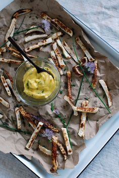Roasted turnip fries with ramp aioli, BrooklynSupper (egg yolk, lemon juice and zest, garlic, EVOO, ramps, pepper and paprika, turnips, oil/ghee, chives)