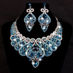 White Gold Plated Bridal Jewelry Sets Statement Necklace And Earring Set Of Fashion Jewelry Women Accessories Christmas Present