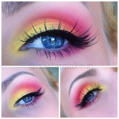 Bright lipstick colors false eyelashes summer makeup make up The primary Summer Eyeshadow, Pink Eyeshadow Look, Yellow Eye Makeup, Bright Eye Makeup, Bright Lipstick, Makeup Eye Looks, Colorful Eye Makeup, Colorful Eyeshadow, Lipstick Colors