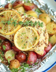 Papillote de poulet aux citrons et de pommes de terre grelots! #poulet #papillote @citron #patates #grelots #recette #santé #souper