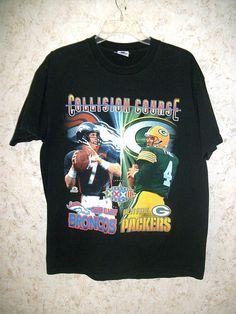 816fbccd1 Rare 90s Starter Brett Favre John Elway Super Bowl XXXII Black Crewneck T Shirt  Graphic Tee Packers Broncos Vintage Retro Shirt Mens Large