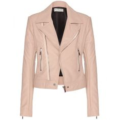 Balenciaga Leather Jacket (3,135 CAD) ❤ liked on Polyvore featuring outerwear, jackets, coats, coats & jackets, leather jacket, neutrals, genuine leather jacket, pink jacket, balenciaga jacket and pink leather jacket