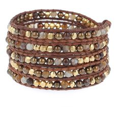 Bronze Pearl Mix Wrap Bracelet on Natural Brown Leather