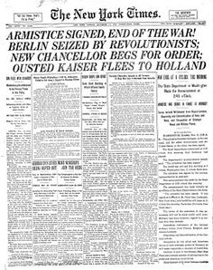 The New York Times reporting the signing of the Armistice.