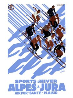 Vintage Travel Poster - Alps & Jura - Winter Sports