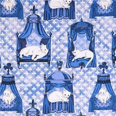 blue and white We are Not Amewsed Michael Miller cat fabric £5.80/0.5m