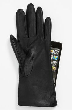 'Basic Tech' Cashmere Lined Leather Gloves