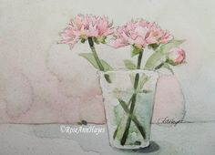 Original Watercolor Painting Peonies in Glass por RoseAnnHayes