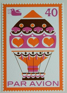 Vintage Style Postage Stamp Postcard  Hot Air by aliceapple,