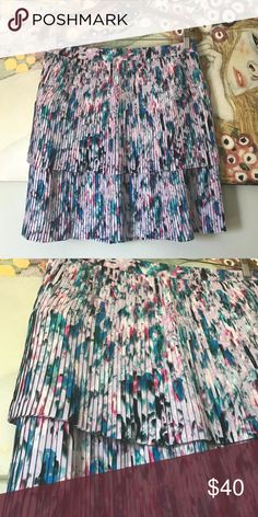 J.Crew Two-tier Pleated Skirt in Watercolor Floral GORGEOUS patterned skirt that has never been worn. Two-tiers make it fun to wear and super swingy. J. Crew Skirts Midi