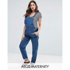 ASOS MATERNITY Denim Overall in Stonewash Blue ($67) ❤ liked on Polyvore featuring maternity and blue