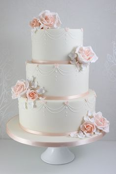 Wedding Cakes – The Fairy Cakery – Cake Decoration and Courses based in Wiltshir… – Beautiful Wedding Cake Designs 3 Tier Wedding Cakes, Floral Wedding Cakes, Amazing Wedding Cakes, Wedding Cake Rustic, White Wedding Cakes, Elegant Wedding Cakes, Wedding Cakes With Flowers, Wedding Cake Designs, Lace Wedding