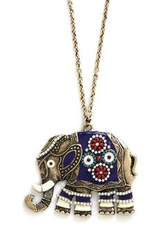 Elephant-abulous Necklace. Make a mammoth-sized fashion statement when you accessorize with this antiqued-gold elephant necklace! #blueNaN