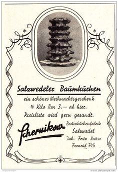 Original-Werbung/ Anzeige 1936 - SALZWEDELER BAUMKUCHENFABRIK SCHERNIKOW - ca. 65 x 100 mm