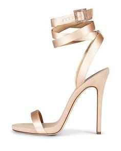 X3F2N Giuseppe Zanotti for Jennifer Lopez Leslie Satin Ankle-Wrap 120mm Sandal, Nude
