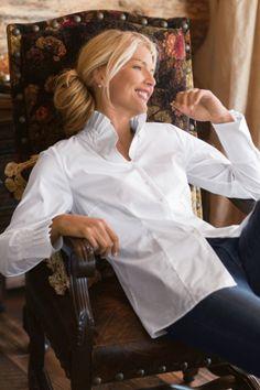 Charlize Shirt - Button Down Shirt, Stand Collar, Classic Shirt | Soft Surroundings