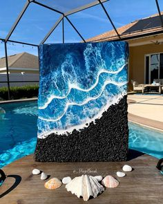 Your place to buy and sell all things handmade Beach Wall Art, Diy Wall Art, Ocean Art, Ocean Waves, Epoxy Resin Art, Diy Resin Crafts, Black Artwork, Diy Canvas Art, Yellow Painting
