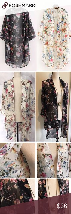 "Floral print Kimono Fabric Material: Chiffon with floral details Collar: Open Neck Sleeve: 3/4 Sleeve Style:  Open Blouse KIMONO Length Style: Hip Length Feature: Asymmetric Hem Fit Style: Loose Size L to XL Shoulder 22"" Sleeve 12"" Bust 46"" Max Length 35"" Available in black floral and cream floral   ⏱SIZE M WILL BE AVAILABLE SOON...     🛍BUNDLE & SAVE 15%🛍 ✨TOP RATED SELLER✨ 📦SAME DAY OR NEXT DAY SHIPPING!📦 ❤REASONABLE OFFERS WELCOME❤ ❌NO TRADES OR PAYPAL❌ Tops"