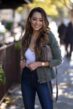 Jessica Ricks Kensie Girl Anorak | Brandy Melville Top | Joes Jeans | Steve Madden Bryrony Heels and Bag | Peggy Li Necklace