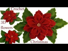 Knitting Patterns Cocoon Como hacer flores Nochebuena en con hojas a Crochet en punto tunecino tejido tallermanualperu Crochet Snowflake Pattern, Crochet Flower Tutorial, Christmas Crochet Patterns, Crochet Flower Patterns, Crochet Flowers, Knitting Patterns, Crochet Chart, Crochet Motif, Crochet Stitches