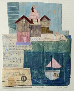 Stitched collage depicting a waterfront scene, inspired by a visit to St Ives in Cornwall, England. With original vintage papers and ephemera, including musical score, textbook pages, and dress-making patterns. Mounted / Unframed Size (incl mount) : 39 x 35 cm