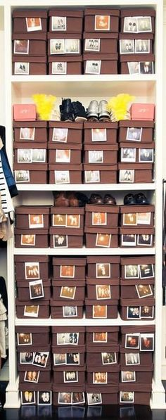 ORGANIZING SHOES! polaroid pics on the outside of the boxes! what a way to know what you want without having to take everything out!