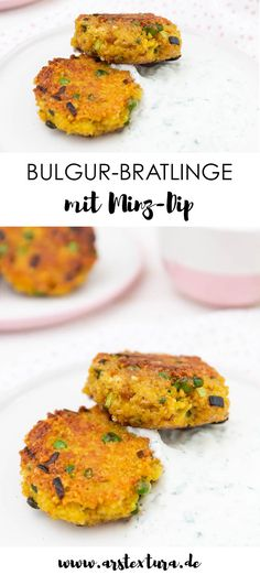 Vegetarian Bulgur patties with mint yoghurt sauce ars t .- Vegetarian patties with bulgur and mint dip – quick & easy and ideal for the whole family # patties Veggie Recipes, Easy Dinner Recipes, Healthy Dinner Recipes, Vegetarian Recipes, Chicken Recipes, Easy Meals, Crock Pot Recipes, Mint Yogurt Sauce, Bulgur