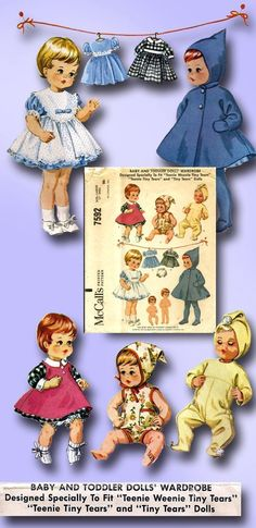 "1964 Original Charming Tiny Tears Doll Clothes Pattern 17"" Factory Folded Uncut 