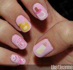 Its a girl! Baby nail art