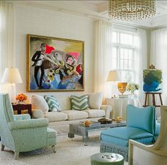 everything but the painting elegant seaside living room with easel in corner ~ Brian McCarthy design Eclectic Living Room, My Living Room, Living Spaces, Small Living, Design Salon, Geometric Rug, Patterned Carpet, Beautiful Interiors, Great Rooms