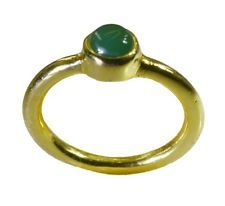 glossy Green Onyx Gold Plated Green Ring wholesale L-1in US 5678