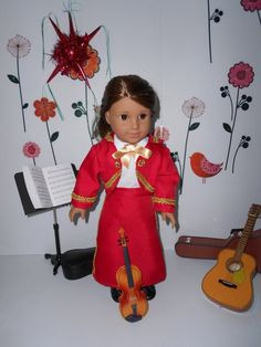 Mariachi charra suit traje red gabardine gold trim for American Girl doll or similar 18 in handmade Ag Doll Clothes, Doll Clothes Patterns, Clothing Patterns, Mariachi Suit, American Girl Clothes, Ag Dolls, Line Jackets, Costumes For Women, Lace Up Boots