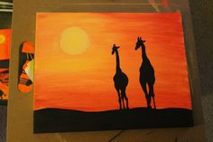 Giraffes at Sunset: African Safari Series. This is an original 11x14 acrylic canvas painting. FOR SALE