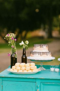 Cake and macarons | Danielle & Mark's Saddlerock Ranch Wedding | Sweet Little Photographs