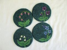 Felted Coasters with a Needle Felted Bleeding Heart Design~Dianthus~Violet~Lily of the Valley~Felt Coasters~Spring Collection Felt Coasters