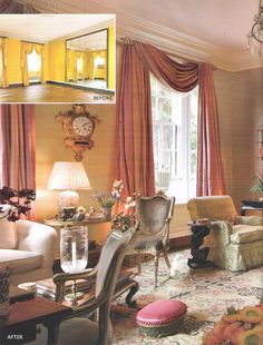Mario Buatta, makes-over the NY apartment previously owned by Sister Parish. Image from AD