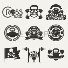 gym: Set logos consisting of dumbbells, barbells and a rope. Cross fitness and gym zal. Crossfit Logo, Gym Logo, Fitness Design, Logo Google, Facebook Sign Up, Vector Free, How To Draw Hands, Logo Design, Clip Art