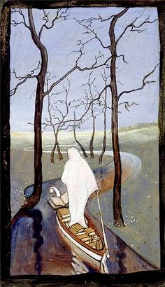 Six of Swords Tarot Card. I dunno but it reminds me of Remedios Varo so i like it. Tarot Card Meanings, Art Database, Tarot Decks, Oeuvre D'art, Painting & Drawing, Les Oeuvres, Art Nouveau, Illustration Art, Decks