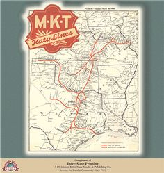 MKT Railroad - A map of all the railroad lines.