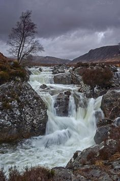 scotland: Rannoch Moor waterfalls in Highlands of Scotland.