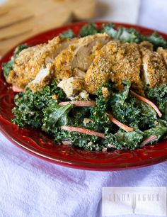 Raw-Kale-Ceasar-Salad-with-Almond-Crusted-Paleo-Chicken Recipe - RecipeChart.com #Healthy #MainDish