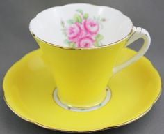 Royal Grafton TEA CUP AND Saucer Yellow ON White Flowers