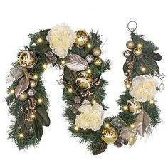 Valery Madelyn Pre-Lit 6 Inch Elegant Champagne Gold Christmas Garland with Shatterproof Ball Ornaments, Ribbon, Artificial Flower, Battery Operated 20 LED Lights Gold Christmas, Christmas Lights, Christmas Time, Christmas Wreaths, Christmas Decorations, Christmas Ornaments, Holiday Crafts, Holiday Decor, Ball Ornaments