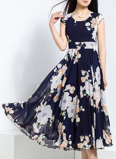 Chiffon Floral Sleeveless Mid-Calf Vintage Dresses
