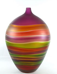 Sandblasted Hive handmade by Cal Breed of Orbix Hot Glass. Learn all about how this vase was made on the Fusion Art Glass Blog: Gather.