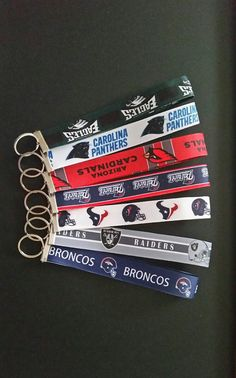 Key Fob Football teams Large wristlets by BrumbleBerryBoutique