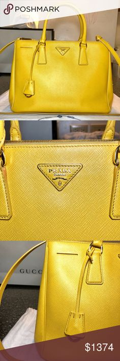 Prada Double Zip Lux Tote Saffiano ( Mimosa ) Authentic Preowned Prada Double Zip Lux Tote Saffiano Leather ( Mimosa )Yellow Large Bag  I keep in a good condition until now it has even been three years and I carry different bag every time( because I got too many bags )and I also really don't go out that much mostly of the time either, I paid over $2500 including tax for this large Prada bag and I bought it from Neiman Marcus store.  If you have any questions please let me know and thanks for…