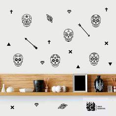 #pack calaveras, vinilo decorativo #vinilos #vinyl #decoracion #diseño #wall #wallart #sticker #adhesivo #interiores #vinilo #calavera #calaca #flecha #muertos #cruz #triangulo #rosa #skull #mmcc