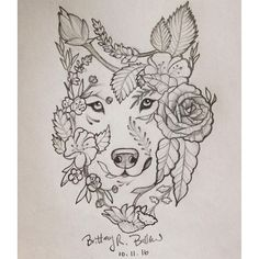 """【solidsol】さんのInstagramをピンしています。 《Entry for """"wolf""""  @dyer_wolves #wolf #tattoo #rose #cherryblossoms #wildflowers #lotus most definitely wanting this as my next tattoo after I have Eva ❤️》"""